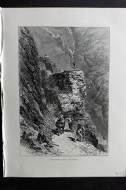 Picturesque Europe 1870s Antique Print. Path over the Gemmi, Switzerland